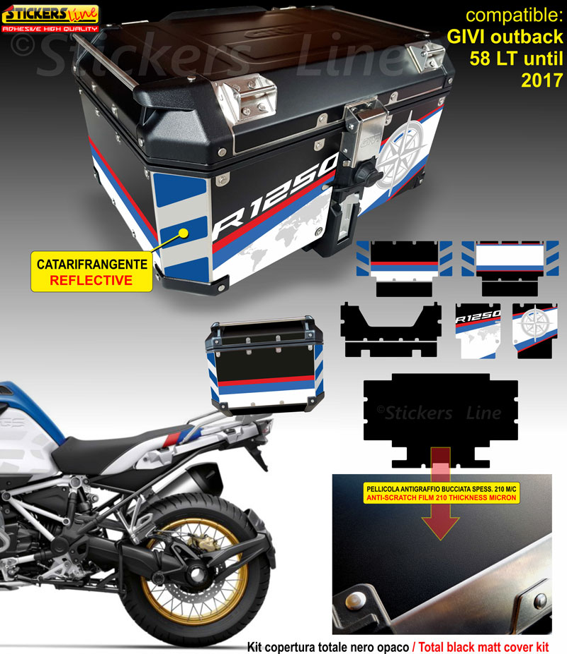 Kit COMPLETO adesivi compatibili valigie BMW R1250GS HP bags stickers dal 2013